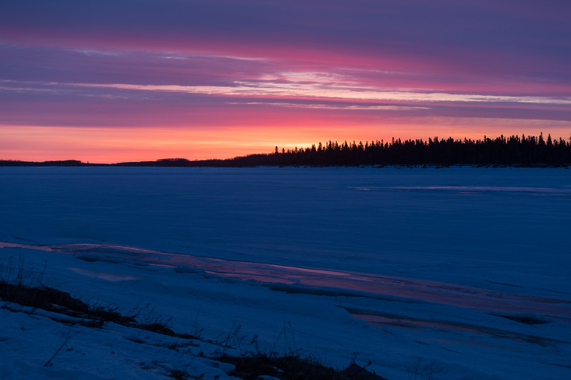 View across the Moose River before sunrise. Not enough water on the river for good reflections.