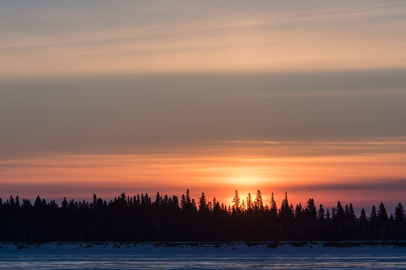 Sky just before sunrise across the Moose River from Moosonee 2017 March 15th.