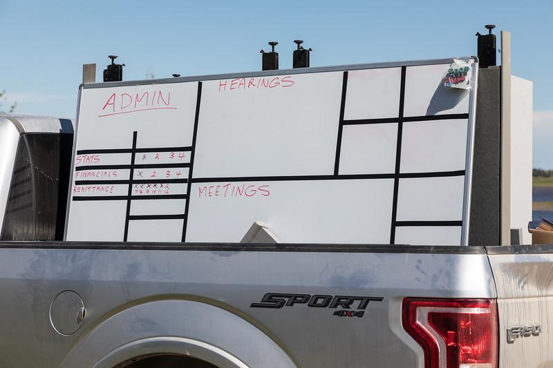 Whiteboard in truck