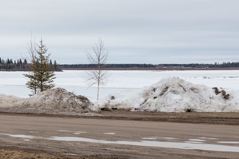 Looking across the Moose River; Revillon Road in the foreground 2017 April 6th.