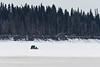 Snowmobile taxi coming across the Moose River to Moosonee 2017 April 18th.
