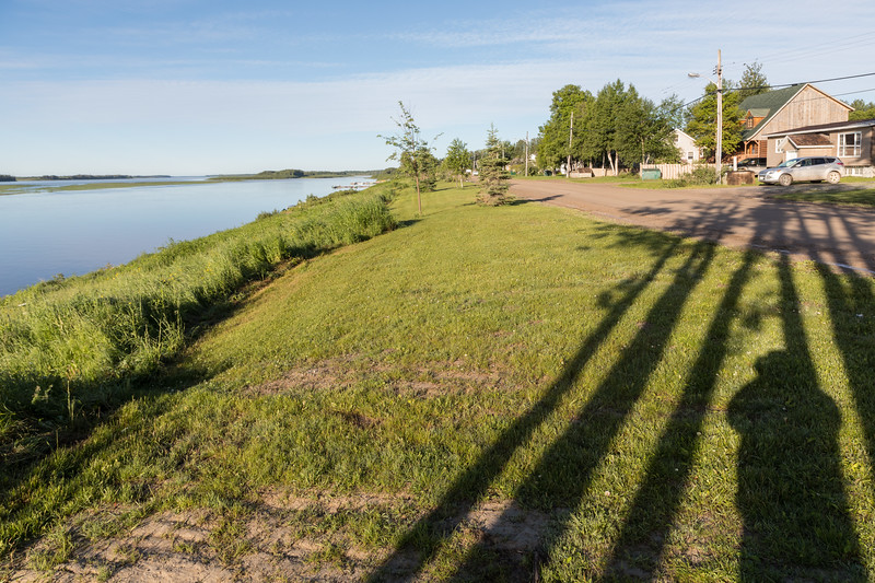 Revillon Road in Moosonee with the long shadows of early morning.