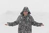 Denise Lantz in heavy snowfall. Standing across the road.