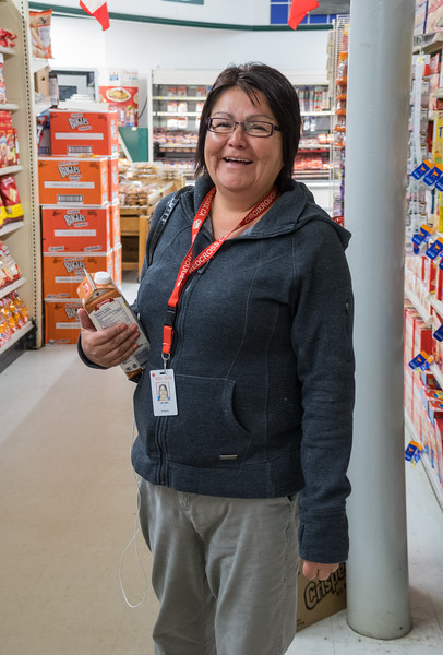 Delores Gagnon in Northern Store. 2017 August 6