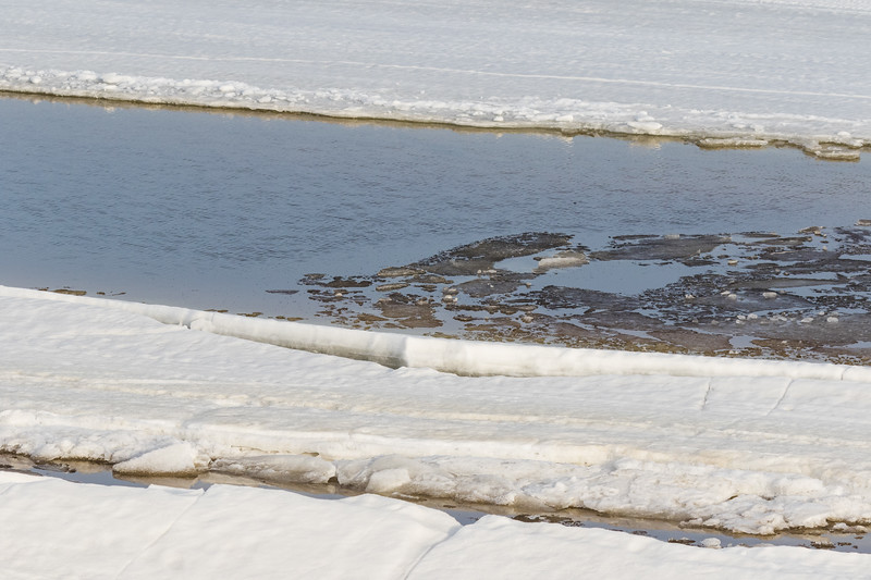 Water and broken ice along the tidemark of the Moose River.