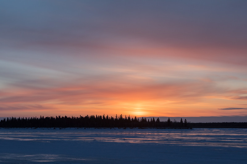 Looking across the Moose River before sunrise from Moosonee 2017 March 12th.