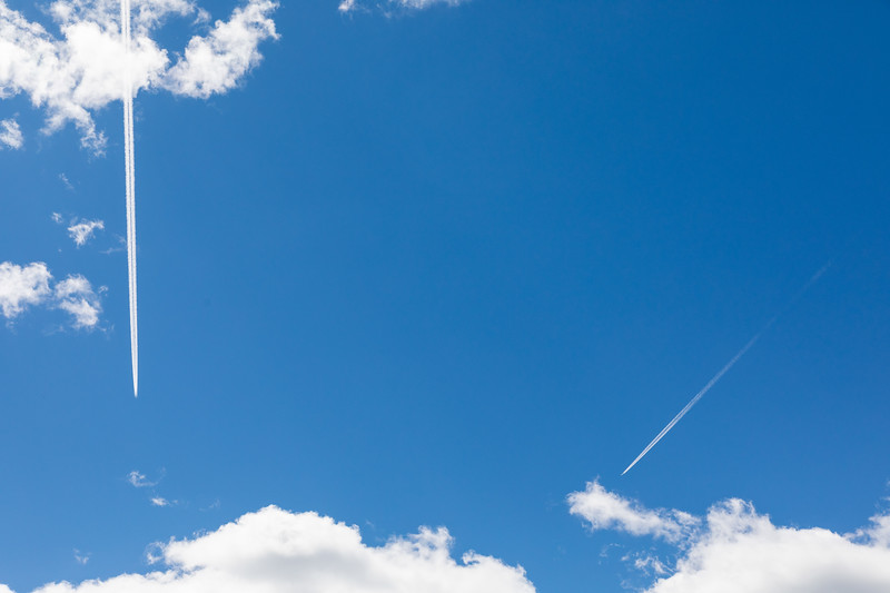 Two contrails high above Moosonee.