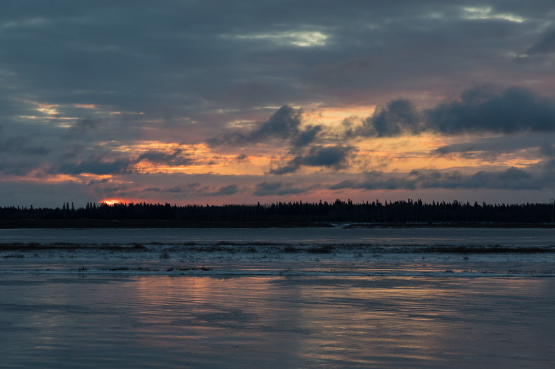 Cloudy sunrise.