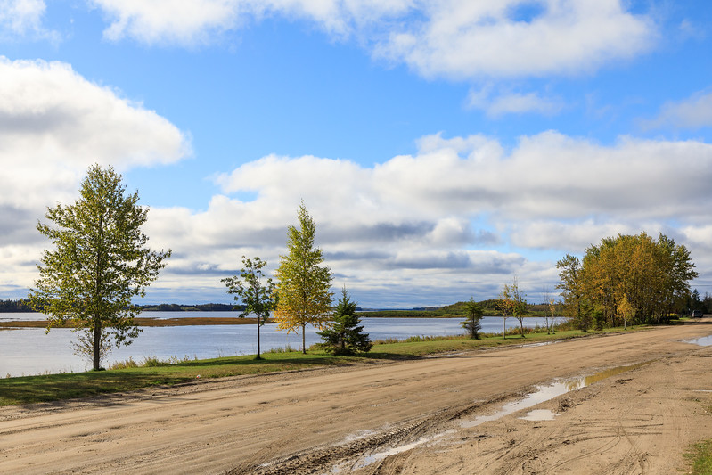 Looking up Revillon Road along the Moose River in Moosonee.