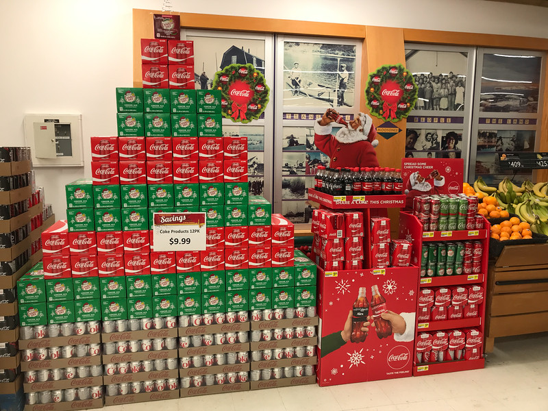Coca-Cola products display at Moosonee Northern Store.