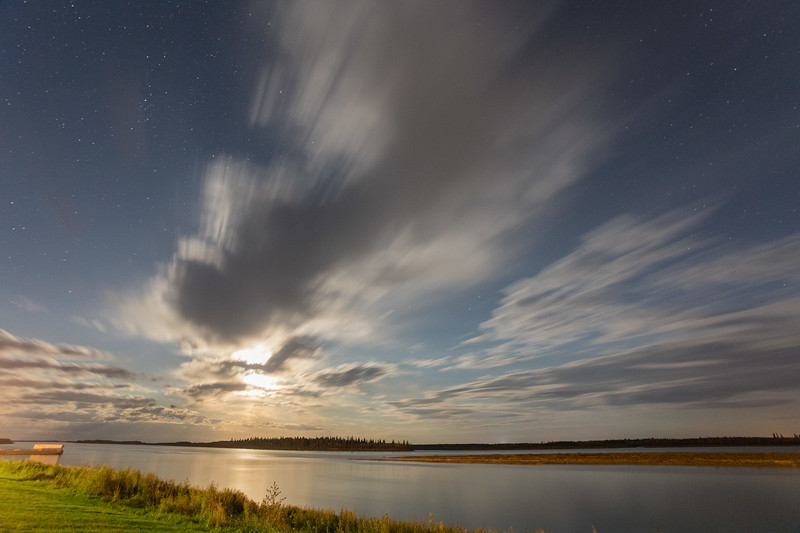 Night sky over the Moose River as seen from Moosonee 2017 October 8th. 16C.