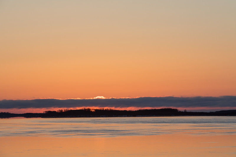 2017 May 3rd sunrise looking down the Moose River from Moosonee.