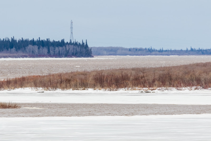 Looking up the Moose River towards hydro tower 330 pm 2017 April 28th. Pretty clear on other side of Bushy Island.
