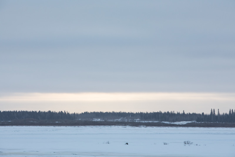 Cloudy morning in Moosonee. Looking across the Moose River 2017 February 24th.