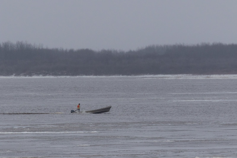Canoe on the Moose River on a icy morning.