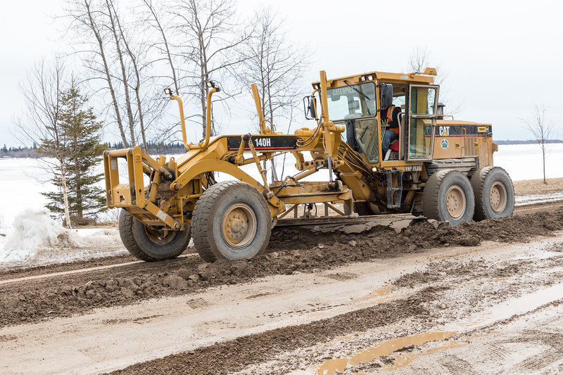 Grading Revillon Road in Moosonee 2017 April 21st.