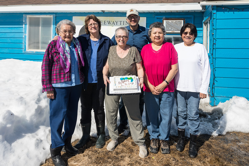 Keewaytinok Native Legal Services board members Dorothy Wynne, Barb Louttit, Lynn Sutherland, Victor Linklater, Maureen McCauley and Climie Wesley celebrate the 50th anniversary of Legal Aid in Ontario. 2017 March 29th.