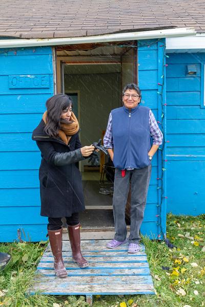 light snow in Moosonee 2018 October 4. Ruchi Punjabi back for a visit and Celine Koostachin