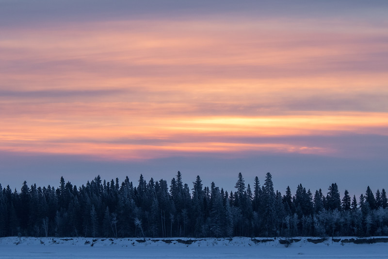 Sky over Butler Island before sunrise across the Moose River from Moosonee.