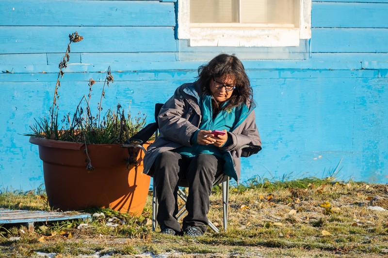 Denise Lantz sitting outside having a smoke 2018 October 14.