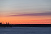 Sky before sunrise across the Moose River from Moosonee. Purple and pink. South end of Butler Island.
