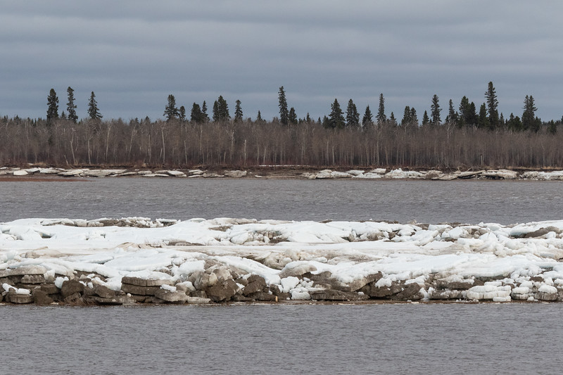 Ice on sandbar in the Moose River at Moosonee 2018 May 22nd. Charles Island in the background.