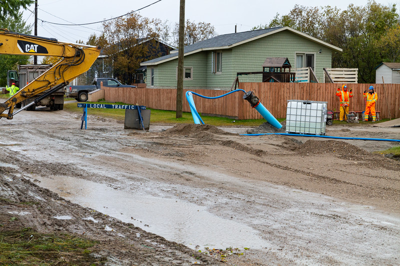 Intersection of Fourth Street and Ferguson Road during connection of new watermain to system.