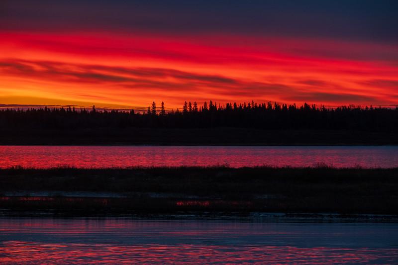 Looking across the Moose River to purple skies before sunrise 2018 October 22.