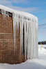Snow and icicles at Ontario Government Building in Moosonee.