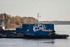 Tug Nelson River and barge docked at Moosonee 2018 October 14.