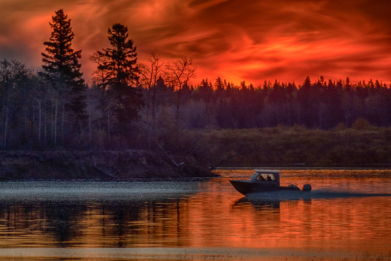 Hospital boat approaching south end of Butler Island before sunrise 2018 October 14. Pseudo HDR dark.