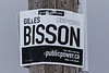 Gilles Bisson sign from a couple of elections ago. All the orange ink is long gone, just the black remains. Mr. Bisson is not running in the new riding this election.