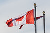 Ontario and Canadian flags at Ontario Government Building in Moosonee.