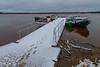 Public docks in Moosonee with fresh snow.