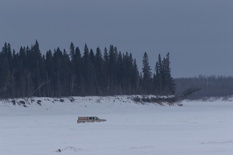 Truck on the Moose River heading back to Moosonee.