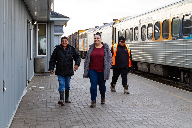 Celine Koostachin and Kathryn Hookimaw show up at the train station.