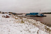 Tug Nelson River and barges on a snowy morning in Moosonee. 2018 October 13