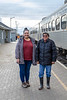 Kathryn Hookimaw and Celine Koostachin at train station.
