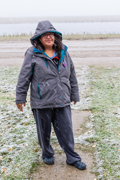 Denise Lantz in light snow in Moosonee 2018 October 6.