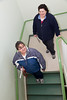 Maggie and Karen on stairs