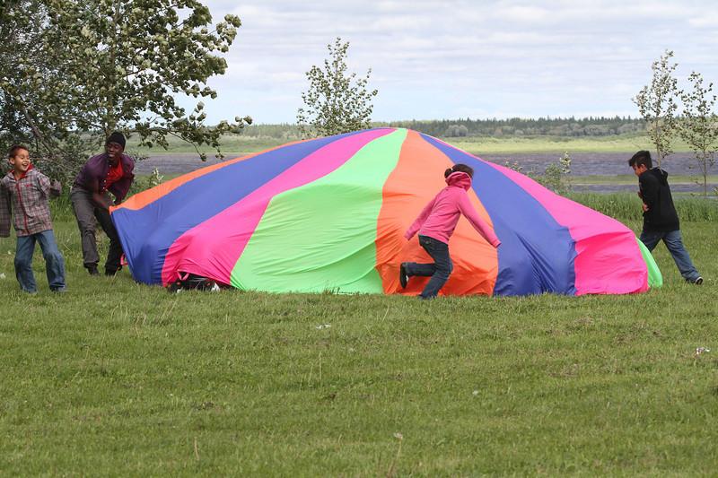 Moosonee National Aboriginal Day 2012 June 21st events at Baseball Diamond. Parachute.