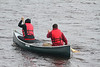 Moosonee National Aboriginal Day 2012 June 21st Canoe Races at McCauley's Hill. Objective, paddle across to island, lift poles, paddle back and put paddles in drum.