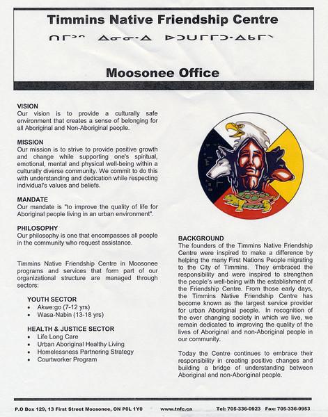 Timmins Native Friendship Centre Program Information.