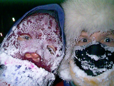 Linda Tranter and Philip Dorian, faces frost covered. 1998 February 26.
