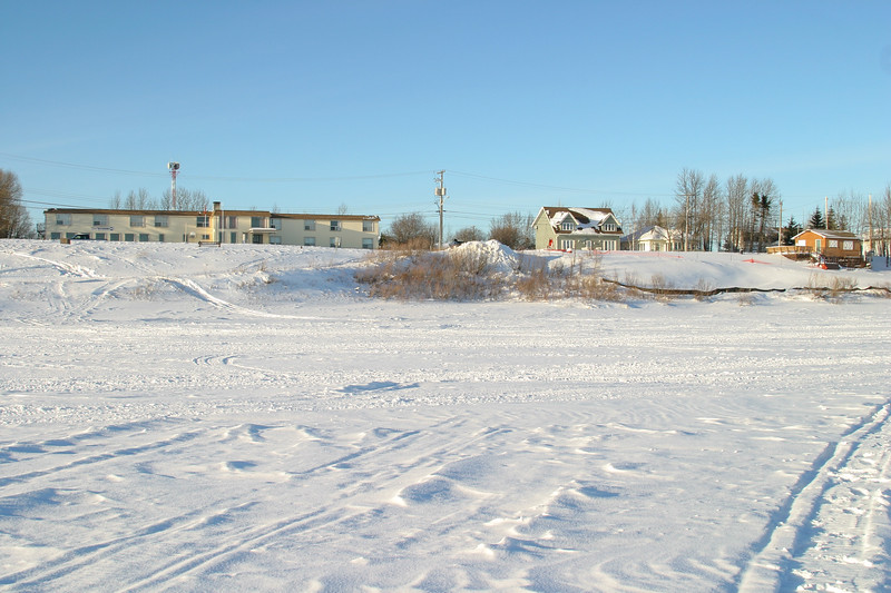 Moose River shoreline in Moosonee from Polar Bear Lodge to Two Bay docks 2005 January 8