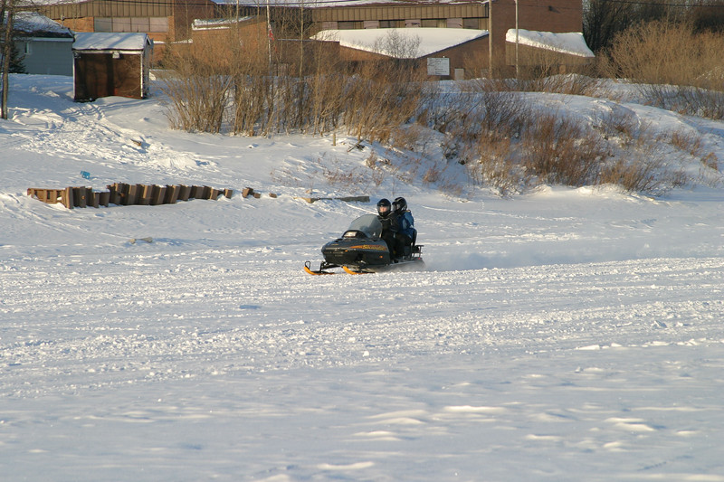 Snowmobile on the Moose River in front of Ontario Government Building 2005 January 8
