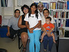2003 August 26 Aaron Nootchtai, Loretta, Ashley Trudeau, Craig, Mary Blueboy and baby in library