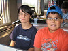 "David Hunter and cousin in snack car on train to Moosonee 2005 August 10. ""Little Bear"""