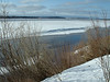Looking up the Moose River in Moosonee. Some water, mostly ice. 2003 May 1