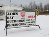 James Bay Outdoors outside sign promoting mosquito jackets. 2006 December 20th.
